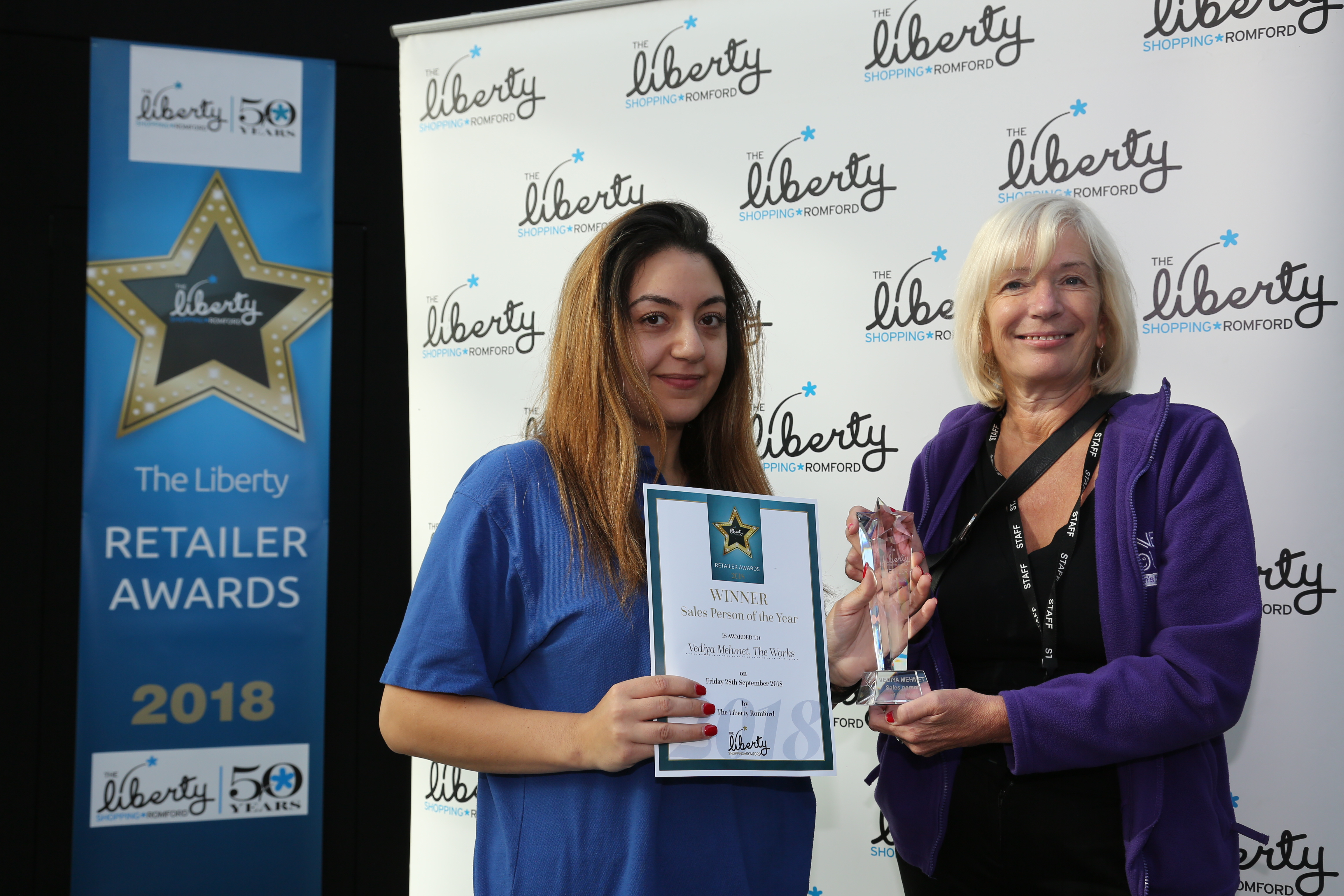 Image: S.Rowse. Sales Person of the Year Finalist Beth Cooper from Claires, Kelly Smith on behalf of Finalist Kerrie O'Neil from That Photo Place,  Winner Vediya Mehmet from The Works with Diane Amos representative from Haven House Children's Hospice, finalist Philomena Groom from Topshop/Topman