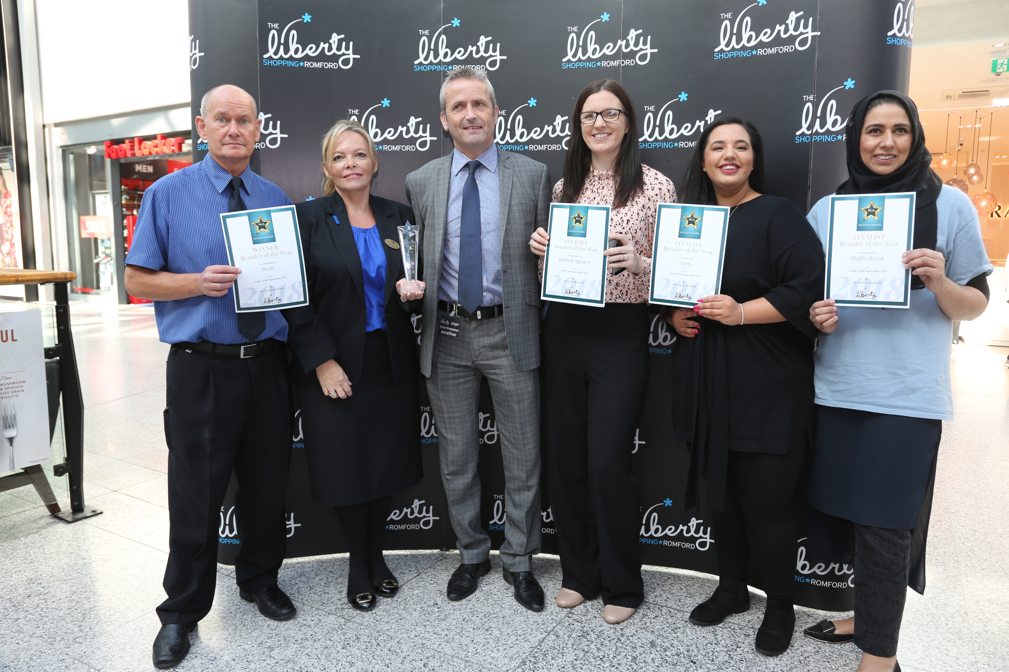 Image: S.Rowse. Retailer of the year award winner: Tony Webb and Belinda Pritchard from Boots,  Centre Manager Jonathan Poole, finalist  Ellie Chamberlain from Marks & Spencer, finalist  Sofia Kasapi from Lush, finalist Nasriya  Shaffi from Muffin Break