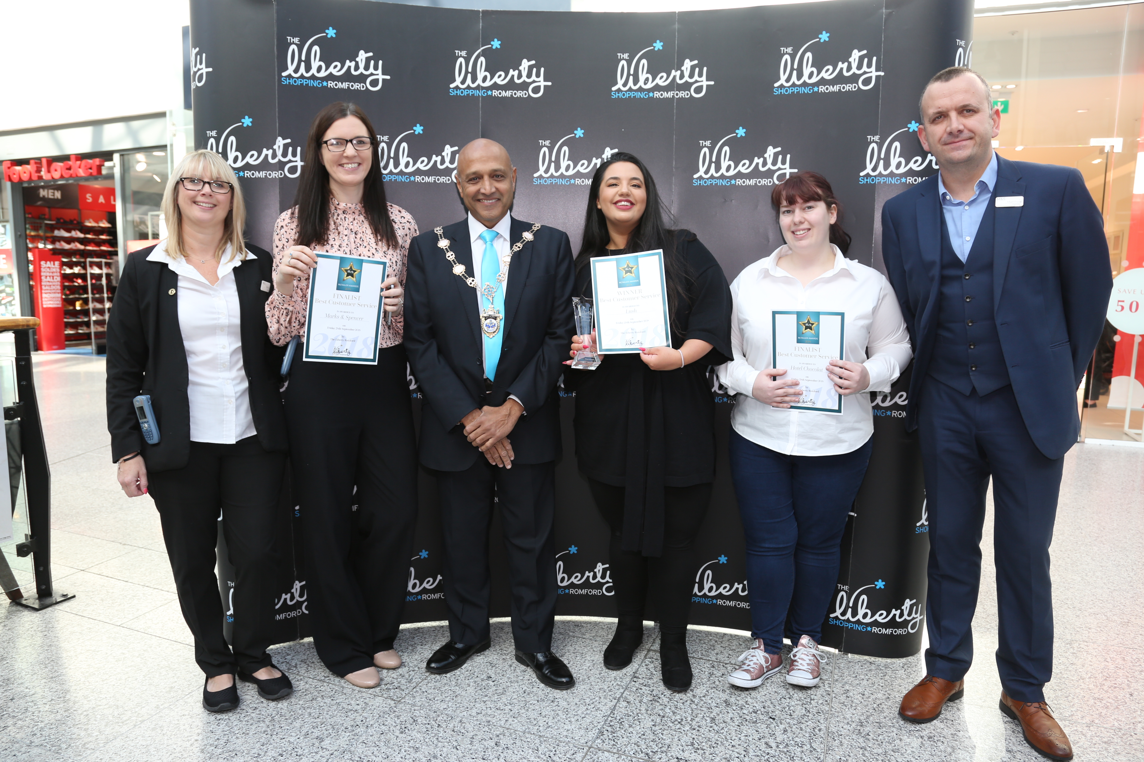 Image: S.Rowse. Customer Service Award, Finalists M&S Staff Wendy Liddard, Ellie Chamberlain , Mayor Councillor Dilip Patel, winner Sofia Kasapi from Lush, finalist Keeley Holland - Davies from Hotel Chocolat, finalist Matthew Opie from Marks & Spencer
