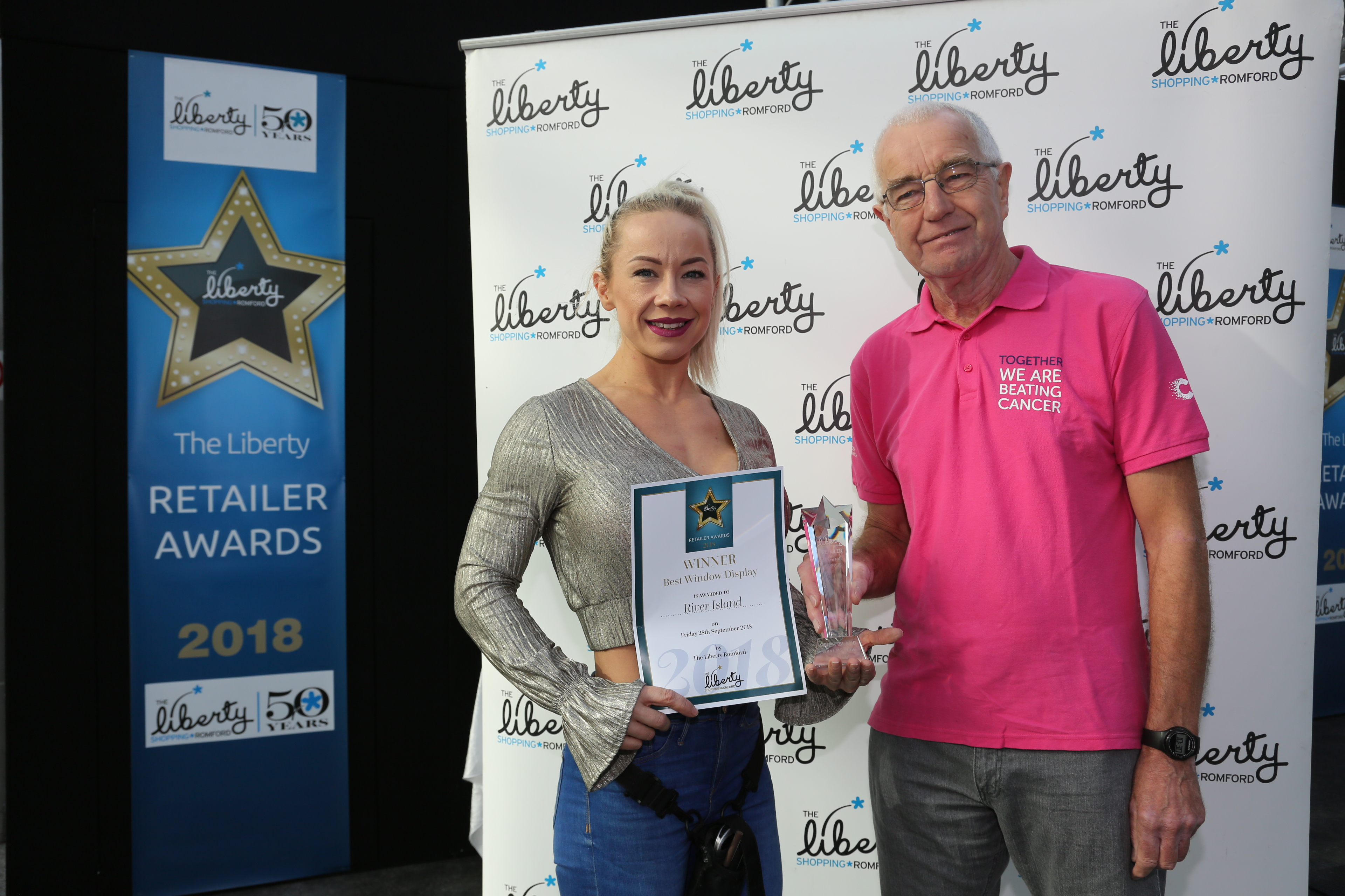 Image: S.Rowse. Best Window Display, Winner Sarah White from River Island with Peter Parkin Representative for Cancer Research UK
