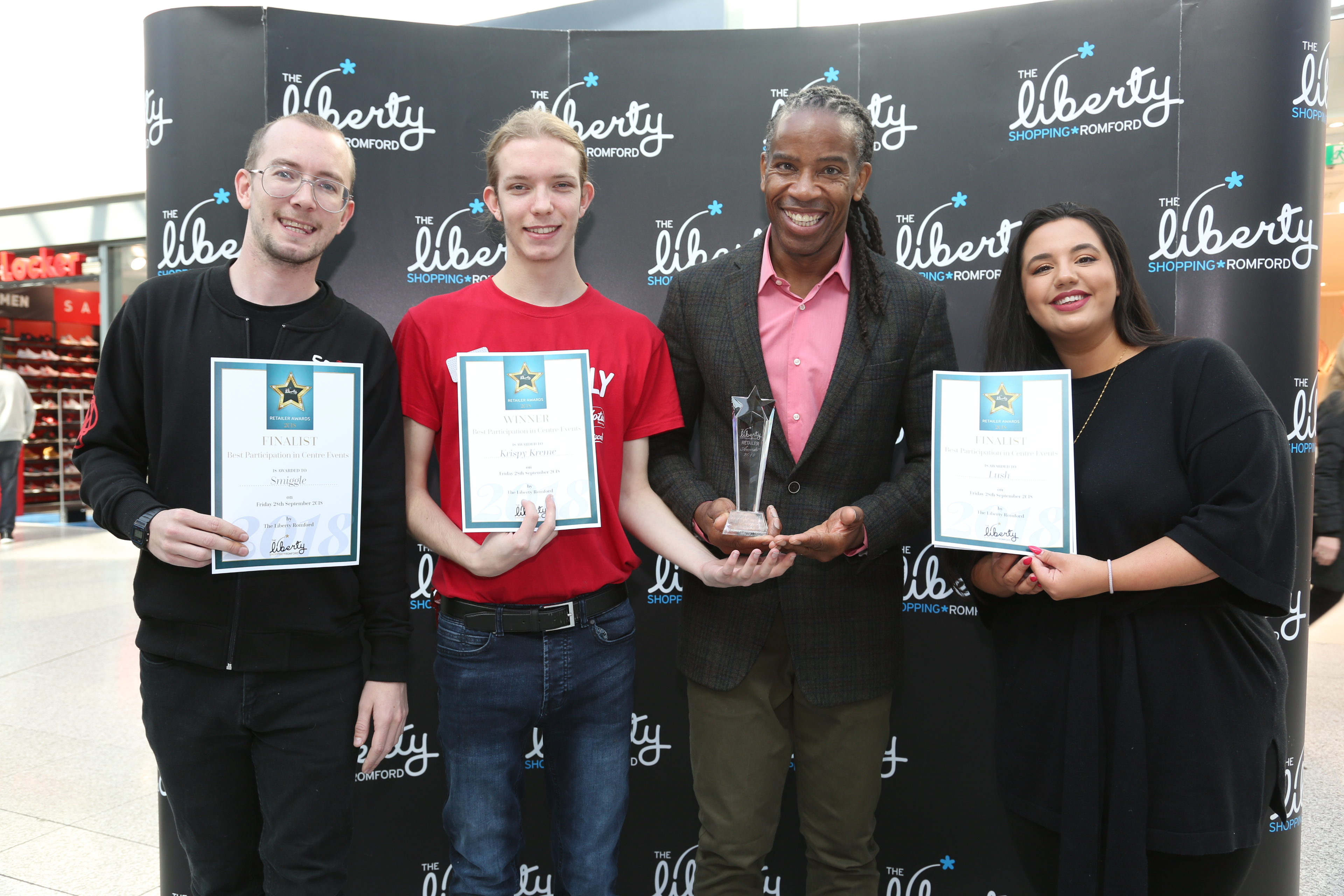 Image: S.Rowse. Best Participation in Centre Events, Finalist Mark Brown from Smiggle,  Winner Taylor Harris with creator of Gladiator Fitness Training Weininger Irwin, finalist Sofia Kasapi from Lush