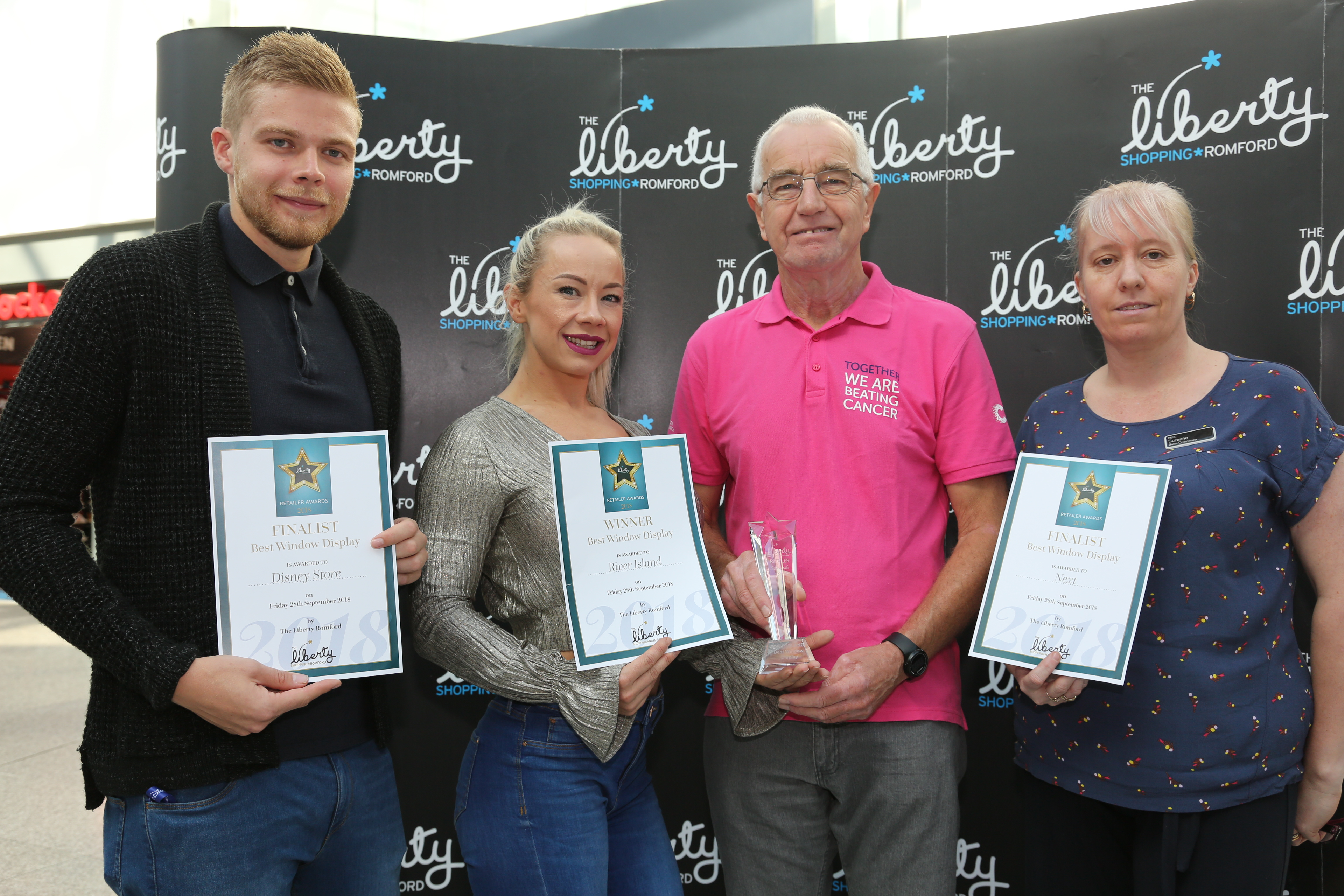 Image: S.Rowse. Best Window Display category finalist Michael Davey from The Disney Store, , Winner Sarah White from River Island with Peter Parkin Representative for Cancer Research UK, finalist Sue Giles, from Next