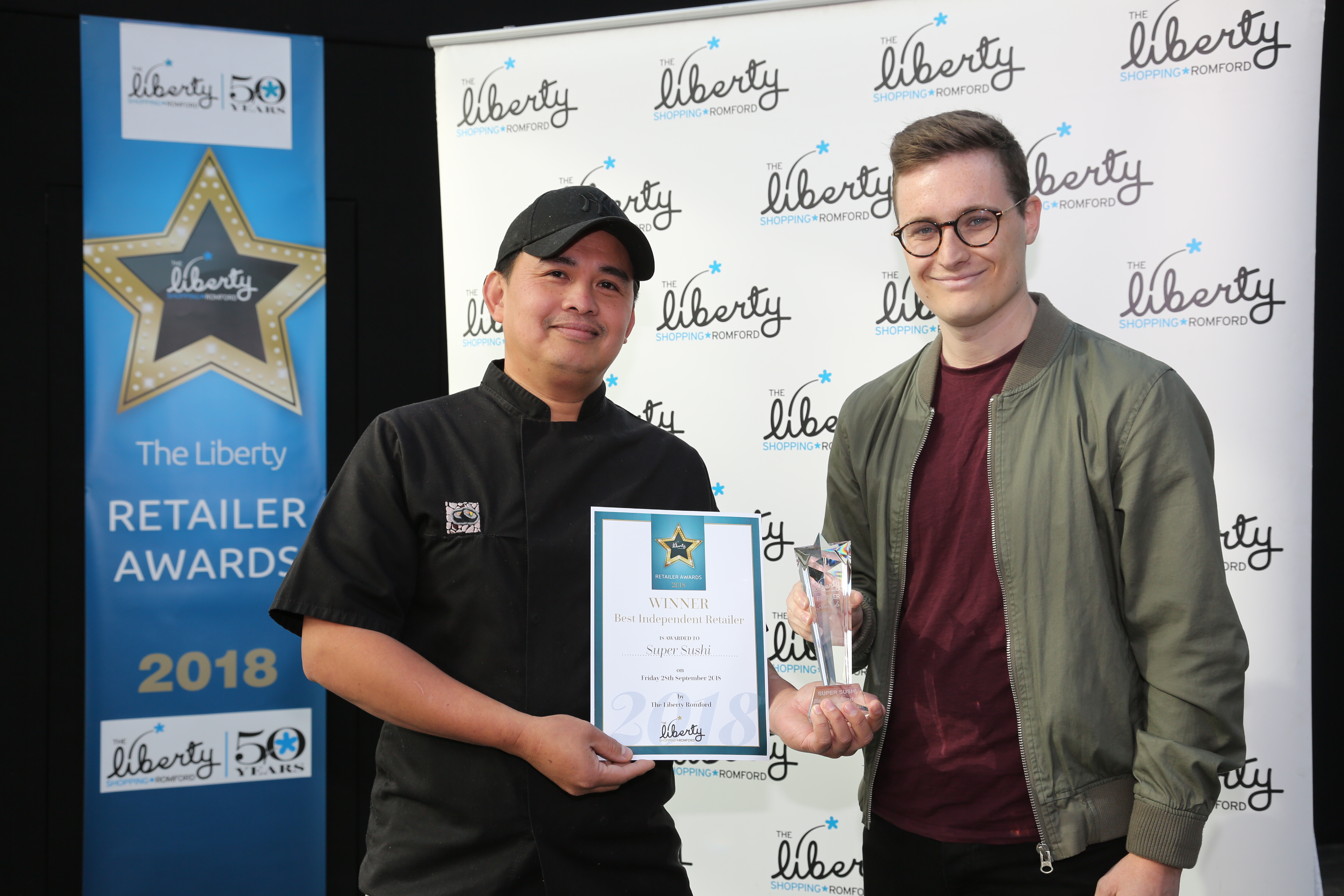 Image: S.Rowse. Best Independent Winner Paul Gonzalez Super Sushi, with Haydn Jeavon from Time 107.5 fm radio